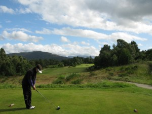 The Ladies 2nd tee,, with Cairngorms in the background