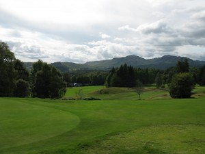Views of Perthshire Hills above the Comrie clubhouse viewed from 5th tee