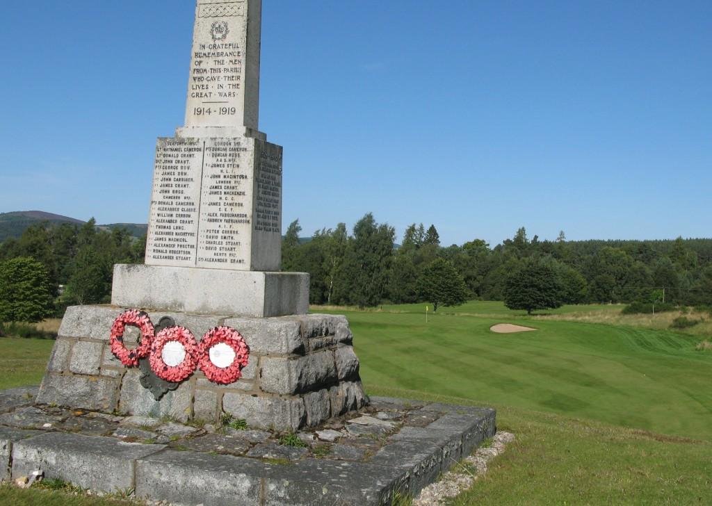 The war memorial hazard on the long par 3 8th hole.