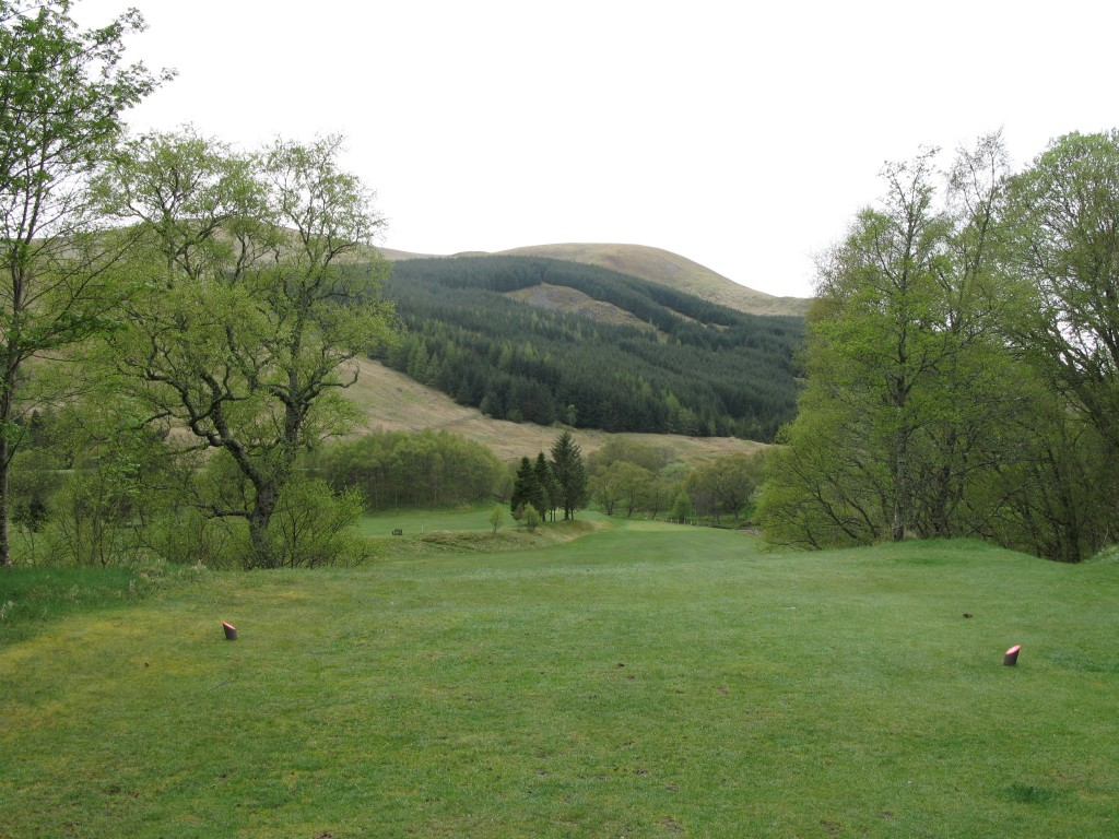 Long 235 yards Par 3 first hole at Dalmunzie