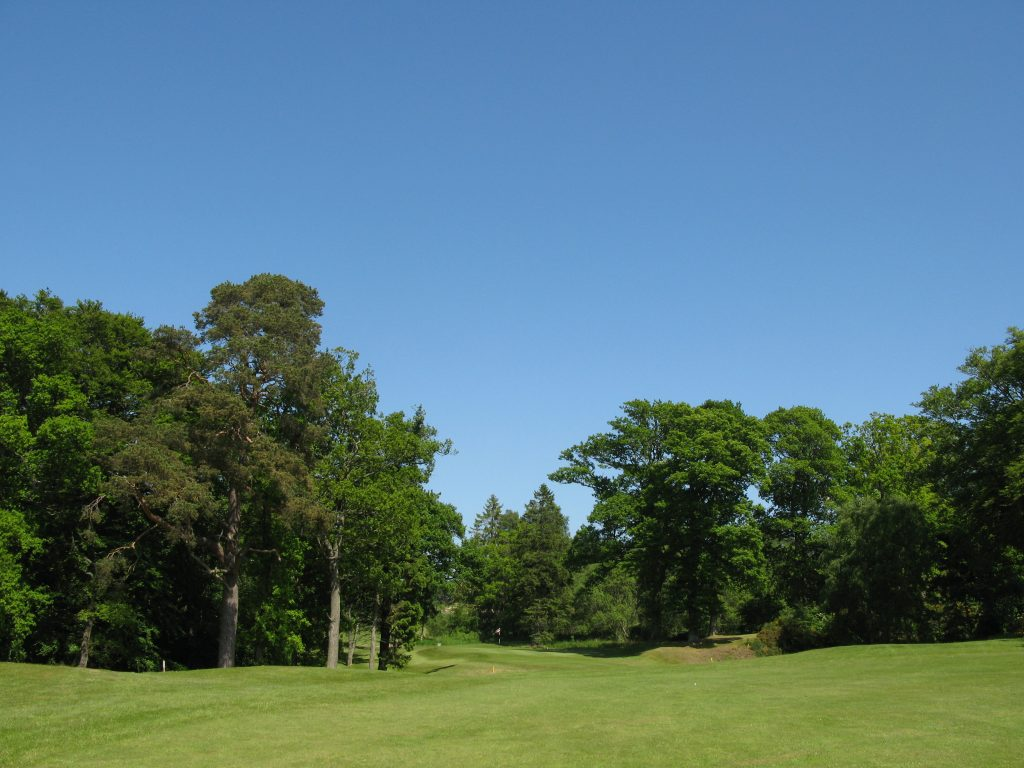 Approach to the par 4 second - requiring a well placed tee shot, into a narrow green over a deep ditch.
