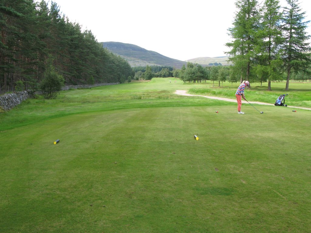 Fran at the 14th tee, the tough SI2 hole at Kingussie