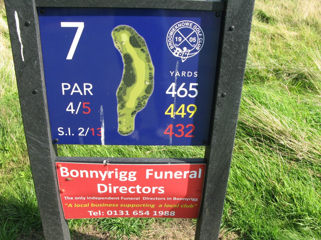 """At least the members at Broomieknowe have a sense of humour: the """"deathly"""" 7th sponsored by the local funeral director!"""