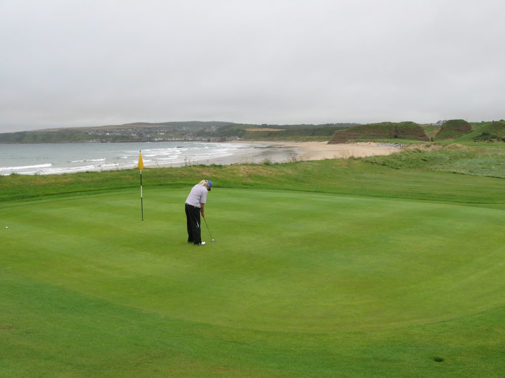 Fran, my playing partner, at the 9th green at Cullen